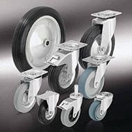 Колеса для тележек: Колёса и ролики со стандартной цельнолитой резиновой шиной и резиновым контактным слоем