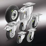 Колеса для тележек: Колёса и ролики с цельнолитой шиной из мягкой резины и двухкомпонентной цельнолитой резиновой шиной