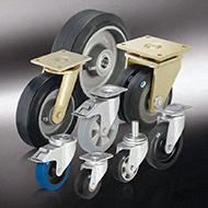 Колеса для тележек: Большегрузные колёса и ролики с эластичной цельнолитой резиновой шиной