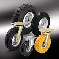 Колеса для тележек: Большегрузные колёса и ролики с суперэластичной цельнолитой резиновой шиной