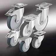 Колеса для тележек: Колёса и ролики с изготовленным методом литья под давлением полиуретановым контактным слоем